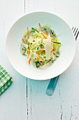 Linguini with rocket, zucchini and carrots