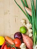 Assorted varieties of vegetables, lemon, lime and ginger