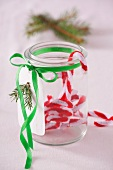 Preserving jar with Christmas decorations