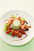 Panna cotta with basil, strawberries and balsamic vinegar