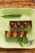 Carrot cake with pears and rowan berries