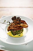 Herb veal fillet with eggplants and yogurt sauce