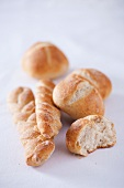 Bread rolls and plaited bread