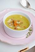 Chanterelle mushroom soup with parmesan