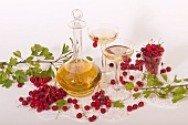 Rosehip liqueur and fresh rosehips