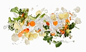 Mirepoix and herbs with a splash of water