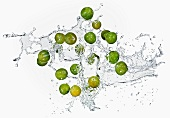 Mirabelles with a water splash