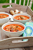 Tomato soup with mushrooms and barley