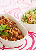 Chicken with tomato and mint, bulgur wheat salad with lemon