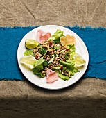 Thai fish salad with peanuts and prawn crackers