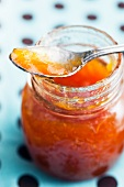 Open Jar of Apricot Jam with a Spoon On Top