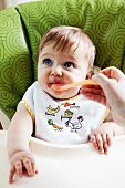 Baby in High Chair Being Hand Fed Blueberries with a Spoon
