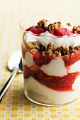 Yogurt Parfait with Strawberry, Rhubarb and Granola