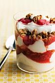 Yogurt Parfait with Strawberry, Rhubarb and Granola