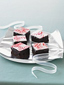 Peppermint Christmas Brownies on a Silver Platter; Ribbon