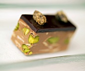 Chocolate mousse slice with pistachios