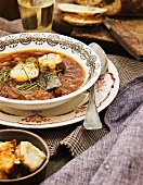 Onion soup with croutons and cheese