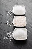 Three types of salt (fleur de sel, Himalayan salt, sea salt) in bowls
