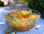 Apricot jelly with basil