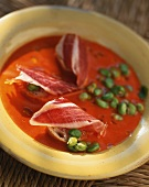 Soup with Pimientos del Piquillo (preserved red peppers) and dry-cured ham