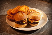 Two Cheeseburger Sliders with Waffle Fries and Cole Slaw