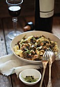 Tagliatelle with eggplant and rosemary