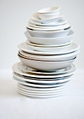 Assorted dishes, stacked
