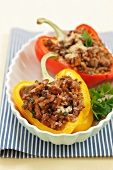Peppers filled with minced meat, chanterelle mushrooms and buck wheat