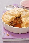 Apple pie and raisins, sliced