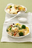 Barley au gratin with vegetables and a cream sauce