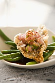 Red mullet with green beans and coriander