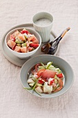 Melon salad with avocado and cream cheese dressing and celery salad with pears