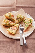 Potato tortilla with peas and parsley