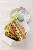 Herb quark with celery and whole wheat sandwich with Camembert and pears