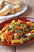 Tri-Colored Rotini Pasta Salad with Pepperoni, Mozzarella Cheese, Tomatoes and Black Olives