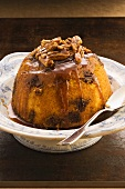 Golden syrup pudding with nuts