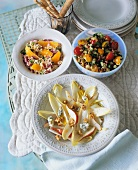 Chicory salad, tabbouleh with oranges and bean salad
