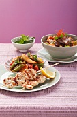 Turkey kebabs with vegetables and beef curry with sweet potatoes