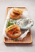 Scones with dill quark and smoked salmon