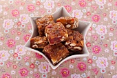 Nut squares with candied fruit