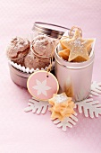 Star-shaped butter biscuits and chocolate macaroons