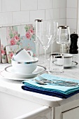 Festive crockery and glasses with silver edges