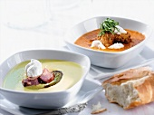 Two Bowls of Soup; Split Pea Soup with Ham and Butternut Squash Soup with Fried Mushrooms; Bread