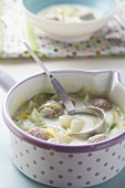 Creamy cucumber soup with sausage meatballs