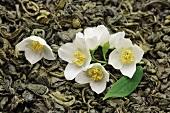 Dried green tea with jasmine blossom