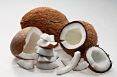 Coconuts, whole and cut