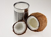 Coconut and a can of coconut milk