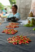 Chilli peppers at a market (Mauritius)