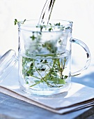 Pouring out a cup of herb tea