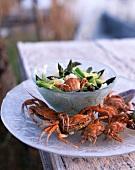 Jerusalem artichoke-asparagus salad with crabs